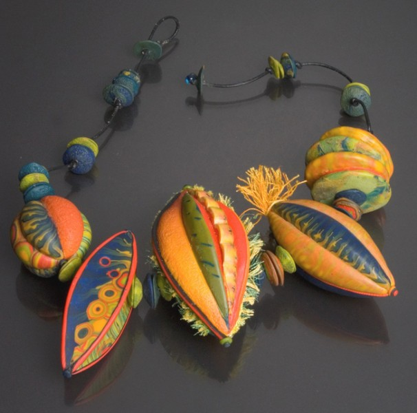Dayle Doroshow and Sarah Shriver, Tribal Circus, 2011 polymer, fiber and leather cording, 3″h x 18″ l x 1 1/2″ w photo: Richard K. Honaman, Jr.