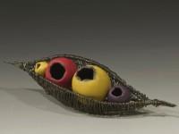 """Laura Tabakman, Woven Brooch, 2012 polymer, steel wire, 1/2 """" x 1 1/2″ x 1″"""