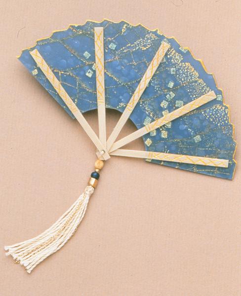 Elise Winters, Blue Foil Cane Fan Brooch, 1995